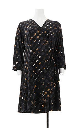 H Halston Petite 3/4 SLV Printed Wrap Dress Black PL New A294235