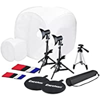 "Excelvan CP-C003 Photography Studio Box Tent Cube Backdrop Kit with 17 30 Photo Tents + 45W Continuous Light + 17"" Light Tripod + 43 Camera Tripod"