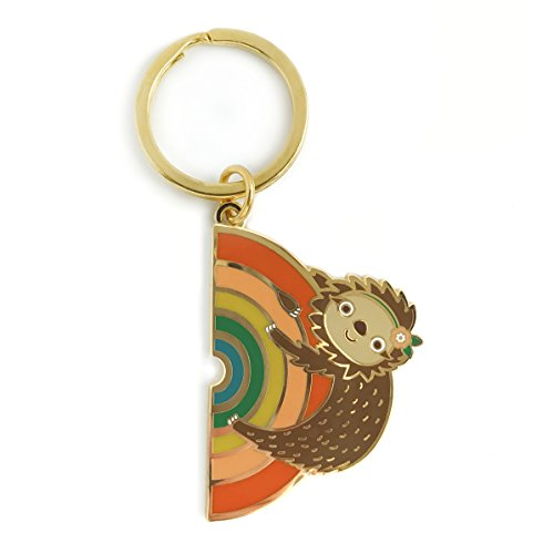 Night Owl Paper Goods Rainbow Sloth Enamel Keychain -