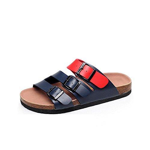 Heart&M Cork ocasional de las mujeres planas suela plana plataforma del talón de la correa de la hebilla de gran tamaño sólidos colores calza sandalias de los deslizadores de la playa a