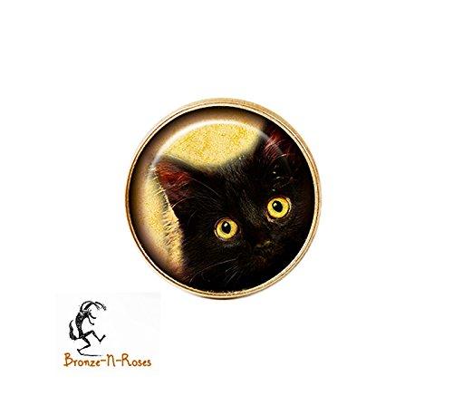 Bague Chat noir aux yeux jaunes bijou halloween bronze-n-roses