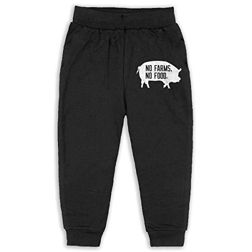 (Kids & Toddler Pants Soft Cozy Baby Sweatpants No Farms No Food Fleece Pants Training Pants Black)
