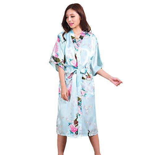 Yidarton Womens Long Fashion Kimono Robe with Peacock and Blossoms Light Blue Large