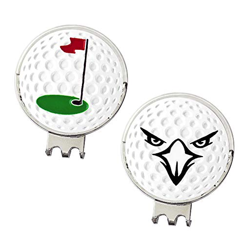 Myartte Powerful Magnetic Hat Clip, Assorted Pattern Golf Ball Markers 24.4MM,Nice Golf Gift for Women Men Kids,Pack of 2 (Flag and Eagle)