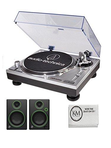 Audio Technica Silver USB DJ Turntable with Mackie CR3 Monitors AT-LP120USB (Dj Speaker Bundle)