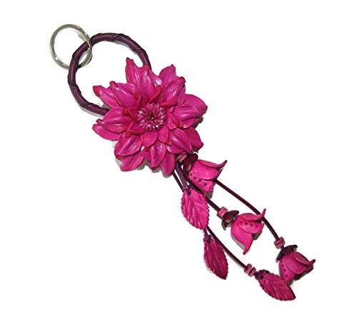 Bella Pazzo Maroon Handmade Dahlia Flower Leather Keychain Key Ring Clasp Bag Charm Handbag Purse charm Car Key Pendant - Maroon Leather Ring