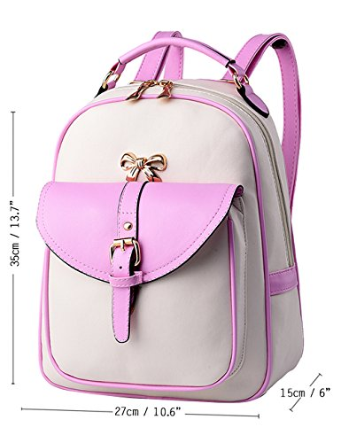 Menschwear Moda Mujer Chica funda mochila escolar bolsa Rosa Blanco Rosa Blanco