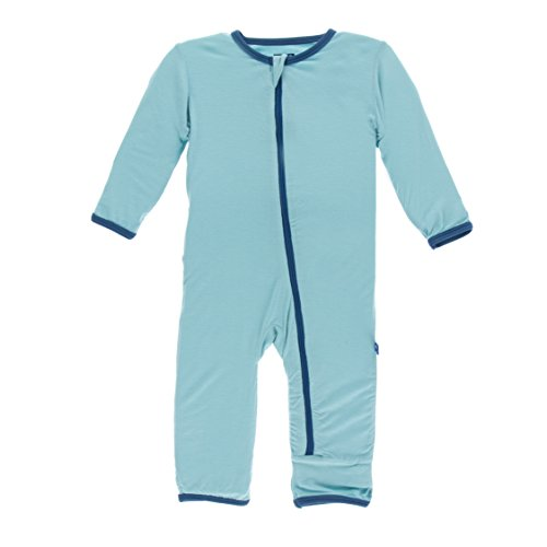 KicKee Pants Little Boys Solid Coverall (Zipper) - Glacier with Twilight, 6-9 Months ()