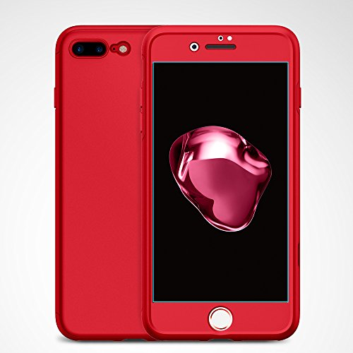 size 40 084b1 66d78 Spigen Thin Fit 360 Designed for Apple iPhone 7 Plus Case (2016) 2 Tempered  Glass Screen Protectors Included - Red