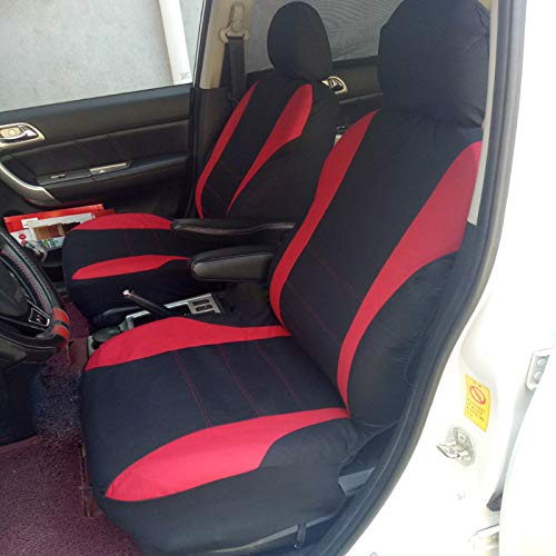 NILE Universal Fit Car Cloth Fabric Seat Cover Automobile Seats Protectors Full Set - Fit Most Car, Truck, SUV or Van Color Red