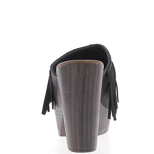 Sabots noirs à talons de 11cm et plateforme large bande avec frange