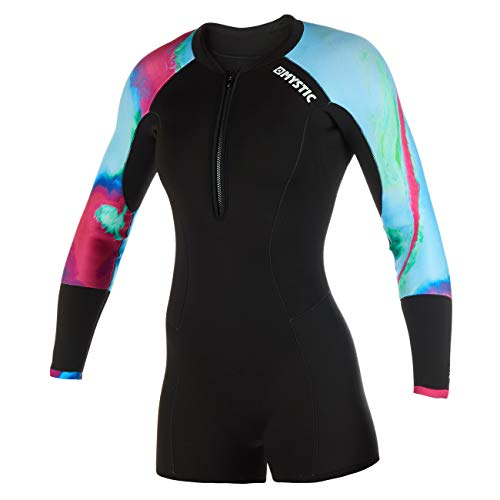 Mystic Watersports - Surf Kitesurf & Windsurfing Womens Diva 2mm Front Zip Long Arm Shorty Wetsuit Aurora from Mystic