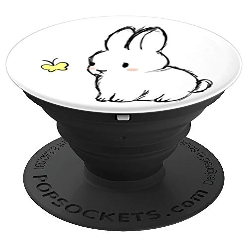 Cute Bunny Rabbit with Yellow Butterfly Graphic PopSocket - PopSockets Grip and Stand for Phones and Tablets