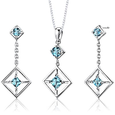 Cheap Swiss Blue Topaz Pendant Earrings Set Sterling Silver Rhodium Nickel Finish 2.50 Carats Square Design hot sale