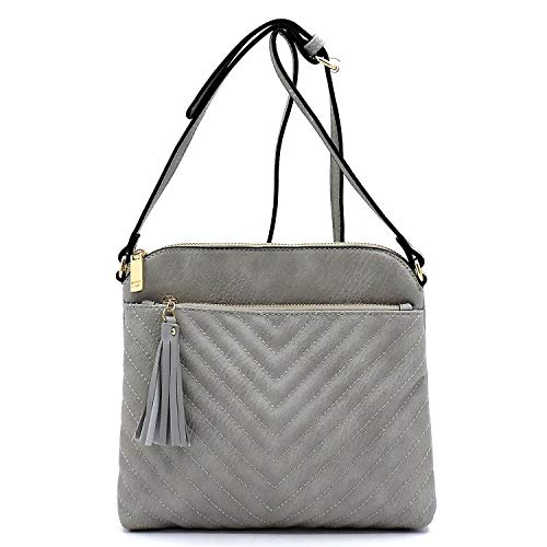 (Vegan faux leather Chevron quilted Crossbody purse with Tassels (Gray))