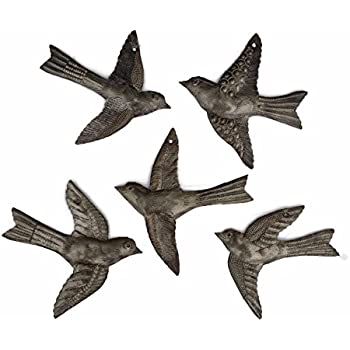 Set of 5 Small Birds Flying,Haitian Recycled Metal Drum Wall Art