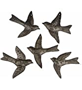 Set of 5 Small Birds Flying, Decorative Figurines, Haitian Recycled Metal Drum Wall Hanging Art, ...