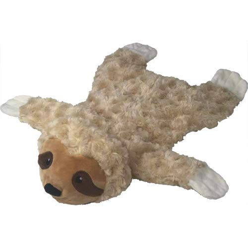 Petlou Stuffingless Floppy Plush Dog Toys with Durable Squeak and Crinkle Paper Dog Chew Toys (Brown/White, Sloth 18 Inch)