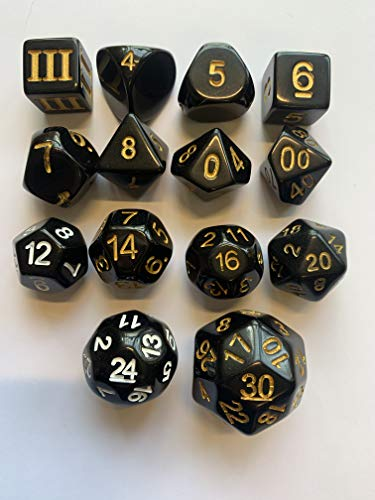 Impact! Miniatures Black w/Gold Factory 2nd - 14 Unusual Dice Set Approved for Use with Dungeon Crawl Classics (22 Sided Dice)