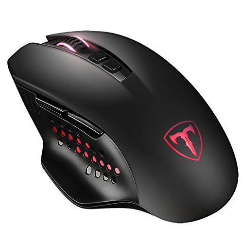 VicTsing Wireless Gaming Mouse, 7-Button Design, 4800 DPI High Precision Optical Sensor, 5 Adjustable DPI Mice(4800/2000/1600/1200/800) with 2 Programmable Side Buttons, Comfortable Grips, Black