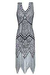 Metme Women's 1920s V Neck Beaded Fringed Gatsby Theme Flapper Dress For Prom (S, Grey)
