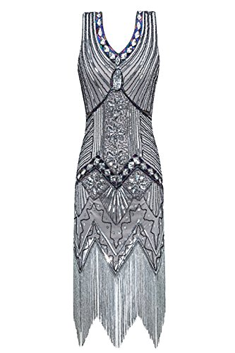 Metme Women's 1920s V Neck Beaded Fringed Gatsby Theme Flapper Dress for Prom (XS, Grey)