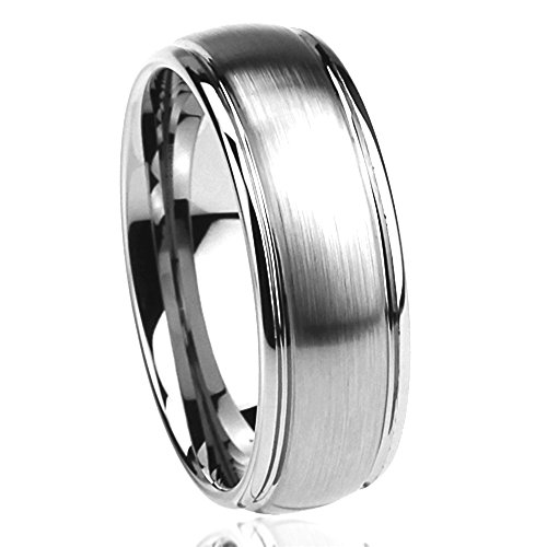 8MM Stainless Steel Wedding Band Ring Brushed Center Domed Classy (6 to 14) - Size: 11
