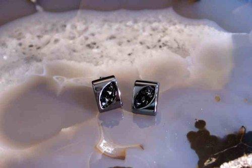 Design élégant noir et hématite motif Boucles d'oreilles en cristal