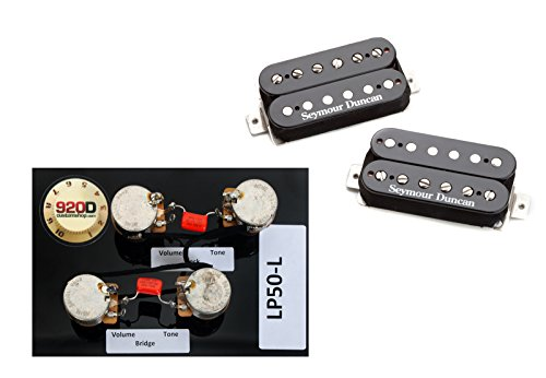 Duncan SH-4/SH-2n Hot Rodded Humbucker Pickup Set, Black+Les Paul Wiring Harness