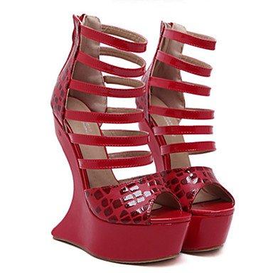 LvYuan Mujer-Tacón Cuña-Confort Innovador-Sandalias-Exterior Vestido Fiesta y Noche-PU-Negro Rojo Red