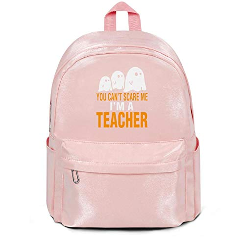 Womens Girl Boys Bag Purse Halloween-You-Cant-Scare-Me-Im-A-Teacher- Casual Nylon Water Resistant School Backpack Bag Purse Pink -