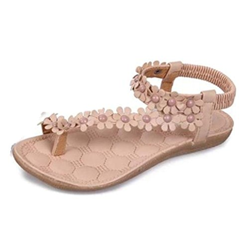 Clode® Womens Sandals, 1 Pair Women Ladies Simple Bohemia Flower Round Head Flip Flop Flat Sandals Khaki