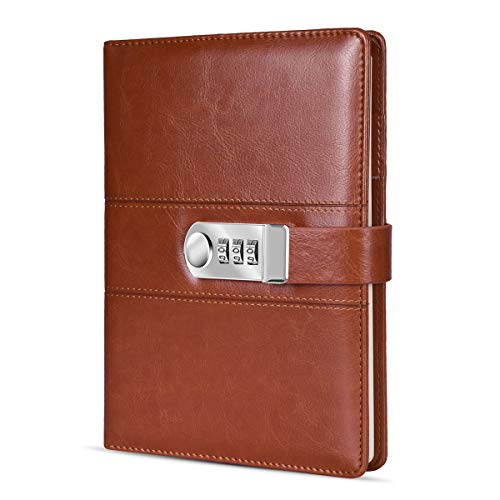 - ARRLSDB A5 PU Leather Diary with Lock, Journal with Combination Lock Password Journal Locking Journal Diary (Brown)