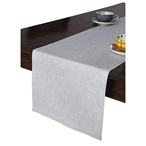 Solino Home 100% Pure Linen Table Runner – 14 x 72 Inch, Tesoro Runner, Natural and Handcrafted from European Flax – Light Graphite