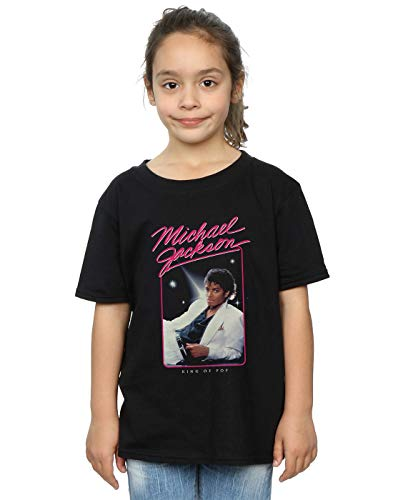 Michael Jackson Girls King of Pop Photo T-Shirt Black 9-11 Years