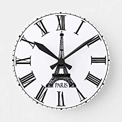 EnjoyHome Paris Eiffel Tower Clock French Wall Art Clocks Decorative Living Room Fits Nautical or Country Decor Small Wood Clock 10 inches