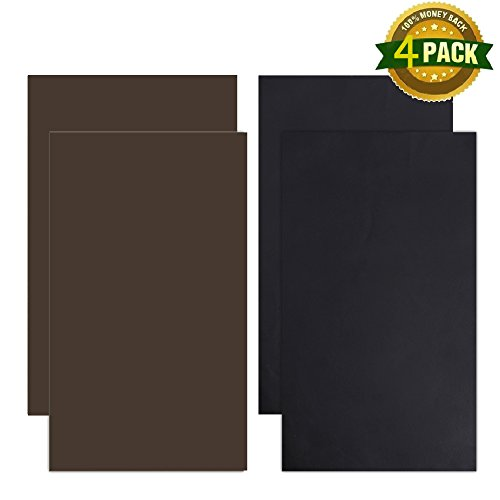 4 Pieces Leather Repair Patch, Leather Adhesive Patches for First-aid for Furniture Sofas Couch Car Seats Handbags Jackets - Plain Strip Design 10-inch by 6-inch, Brown, Black, by - Repair Broken Glasses