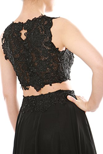 Dress MACloth Neck Women Party Gown Chiffon Lace Two Long Formal High Grau Prom Piece rgzrwRq