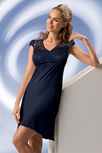 camicia da fantastica dettagli pizzo regalo Elegante confezione in Donna in negligé Blu una con notte viscosa in stupendi tpEzwq6