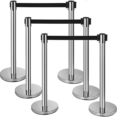 Mophorn 6 Pcs Stainless Steel Stanchions Posts Black Belt Crowd Control Barriers Silver Queue Pole for Party Supplies (Silver-Black ()