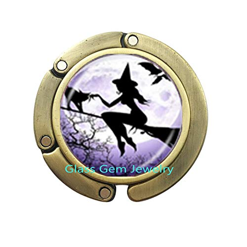 Sexy Witch with Broom Purse Hook Full Moon Bag Hook Wiccan Pagan Jewelry Glass Cabochon Sweater Chain Purse Hook Cat Jewellery,Q0235 (Y2)
