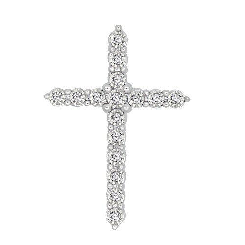 omega jewellery 0.13 Ct Round Cut Natural Diamond 925 Sterling Silver Cross (Diamond 925 Sterling Silver Cross)