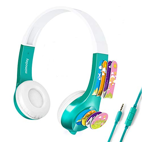 Kids Headphones On-Ear Headphones Folding Without Deformation HD Sound Headphones for Kids and Children with 85db Volume Limited Safe Headset/Mic for 3.5mm/PC/Cellphone/mp3 (Green)