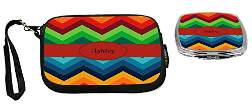 Rikki Knight Ashley Name on Fall Colors Chunky Chevron Design Neoprene Clutch Wristlet with Matching Square Compact - Ashley Clutch