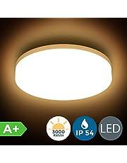 B.K.Licht - Plafón redondo para techo con placas de luz LED adecuado para el cuarto de baño, de luz blanca brillante y cálida, protección IP54, 13 W, 1500 lúmenes, 3000K, color blanco