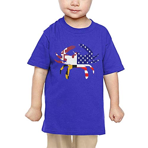 Price comparison product image Pipi66xiami Baby Maryland State American USA Flag Blue Crab Unisex Infants Crew Neck Short Sleeve Tee