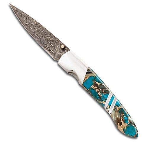 - Santa Fe Stoneworks Gemstone Exotics 4-inch Damascus Steel Pocket Knife with Clip, Turquoise/Abalone/Bronze