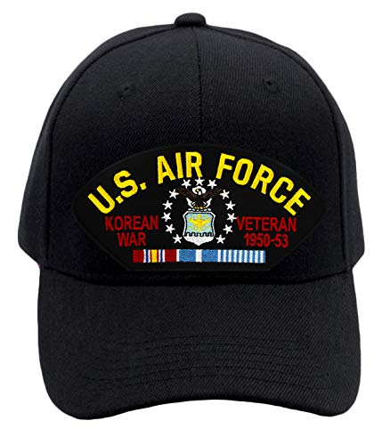 Patchtown US Air Force - Korean War Veteran Hat/Ballcap Adjustable One Size Fits Most (Multiple Colors & Styles) (Black, Add American Flag)