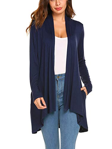 POGTMM Women's Casual Long Sleeves Open Front Cardigans with Two Pockets Side (Navy Blue, US XL(16-18)) (Kimono Jersey)