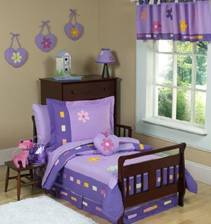 Sweet Jojo Designs Toddler Bed Skirt - Danielle's Daisies Purple